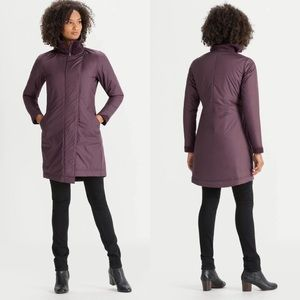 NAU Asym Lite Trench Coat Burgundy Insulated